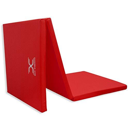 MAXSTRENTGH® - Materassino da Palestra, piegabile in 3 Parti, Spessore 5 cm, in Spugna, Rosso (Rosso), 6 Piedi
