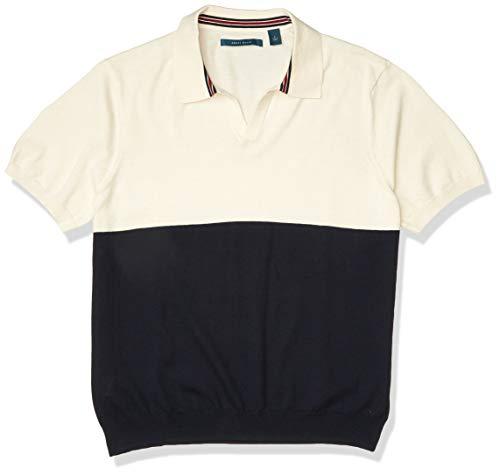 Perry Ellis Men's Color Block Open Collar Short Sleeve Polo Shirt, Cream, XX Large