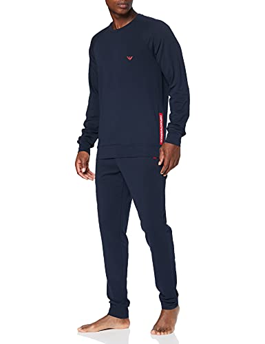 Emporio Armani Underwear Sweater+Trousers Stretch Terry Salopette, Blu Marino, XL Uomo
