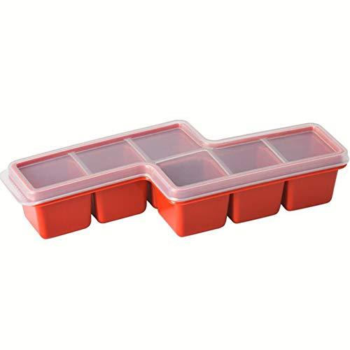 FSXZM Molde de silicona para cubitos de hielo, con tapa, flexible, reutilizable, para whisky y cócteles, color rojo