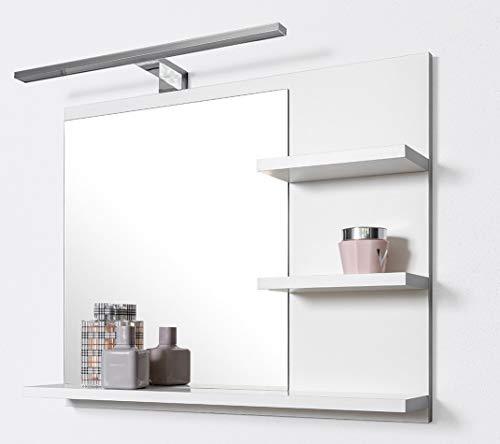 DOMTECH Miroir de Salle de Bain avec tablette et éclairage LED Blanc, P