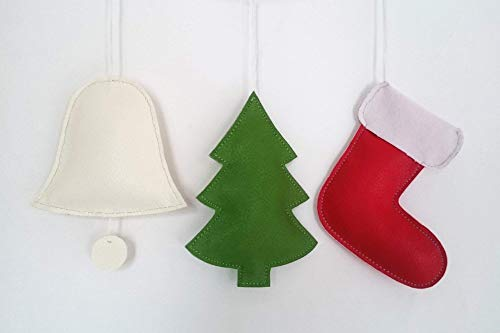 Set of 3 items, PU Leather Christmas Ornaments, Christmas Tree Decoration, Christmas Stocking, Christmas Tree, Christmas Bell, Home Decor, Set of 3 items