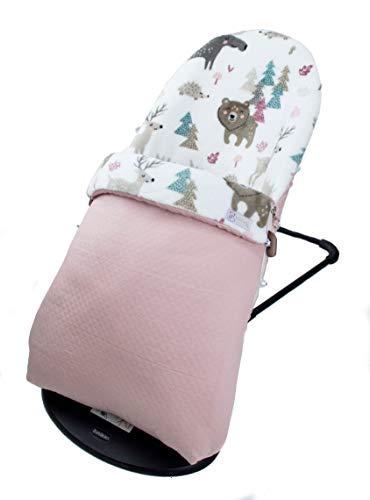 Funda y SACO para Hamaca BabyBjörn Balance Soft (Sustituye tapicería original). Varios diseños disponibles (Alpes rosa maquillaje)