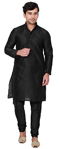 Maple Clothing Men s Kurta Pajama Set Indian Wedding Clothes (Black  L)