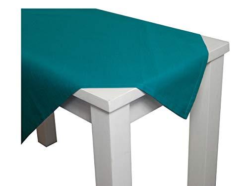 beties Farbenspiel Tischdecke ca. 140x280 cm in interessanter Größen- und Farbauswahl 100% Baumwolle hochwertig & angenehm Uni Farbe (Petrol)