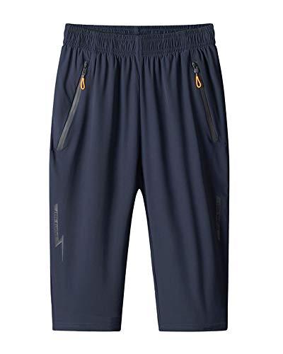Homme Pantalon 3/4 Grande Taille Pantacourt Shorts d'entraînement de Gymnastique Sports Athlétique d'été en Plein air Séchage Rapide Élasticité Pantalon Court de Course Bleu 7XL