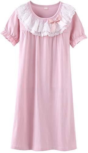HOYMN Nachthemden für Mädchen Spitze Nachthemd für Herbst-Winter 100% Baumwolle 3-13 Jahre, 170/84, Kurzes Rosa