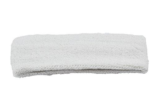 MB-Frottee-Haarband, ideal für Sport, Herren Damen, weiß, One Size up to 60cm