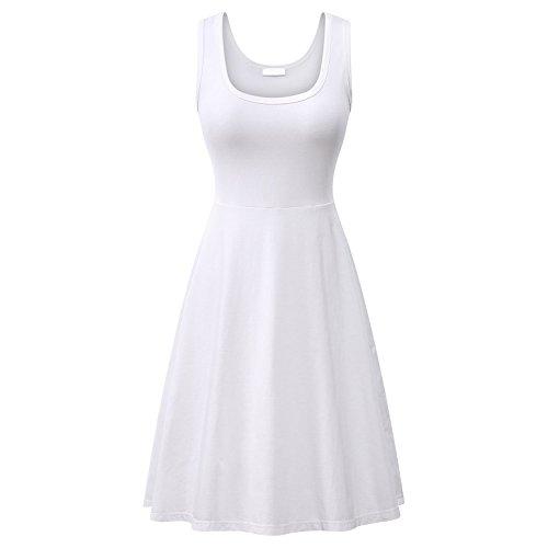 CYSTYLE Damen Ärmelloses Einfarbig Strandkleid Sommerkleid Tank Kleid Ausgestelltes Trägerkleid Knielang (EU M, Weiß)