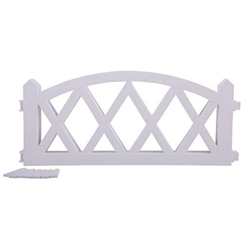 LIZI Zaun Gartenzaun Curved Rhombus Retro Holzmaserung PP Weiß Innen- und Außen Kleine Fence 4 Stück (Einzel Größe 57x26.5cm)