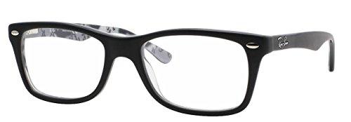 Ray-Ban Women's Rx5228 Square Eyeglasses,Top Black & Texture White,53 mm (Top Black & Texture White, 53)