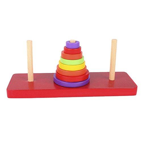 P Prettyia Torre di Hanoi Puzzle in legno giocattolo puzzle intelligente regalo per bambini