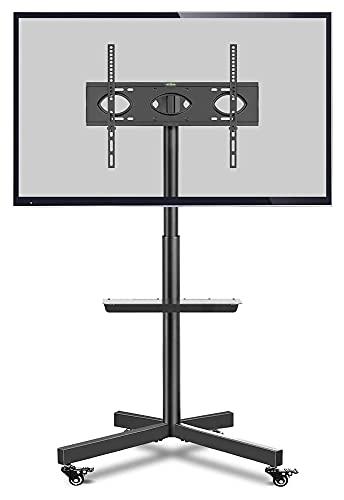 Soporte para TV móvil con ruedas para TV de 27 a 60 pulgadas con soporte opcional para TV (color: negro)