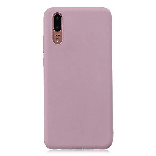 cuzz Funda para Huawei P20+{Protector de Pantalla de Vidrio Templado} Carcasa Silicona Suave Gel Rasguño y Resistente Teléfono Móvil Cover-Rosa