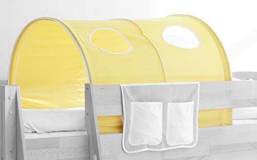 Tunnel für Kinderbetten mit Farbauswahl, Vorhangstoff:Gelb Weiss