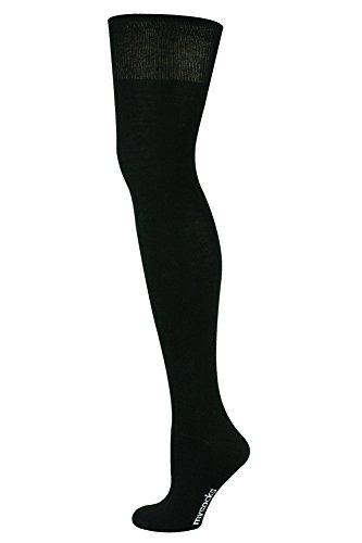 Mysocks Calcetines encima rodilla Llanura negro