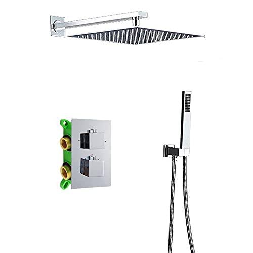RWJFH Sistema de Ducha Juego de grifos de Ducha de Lluvia de Cromo Brillante 16, válvula mezcladora termostática de Ducha con Caja empotrada, Grifo Mezclador de Ducha de latón para baño, Pared cuadr