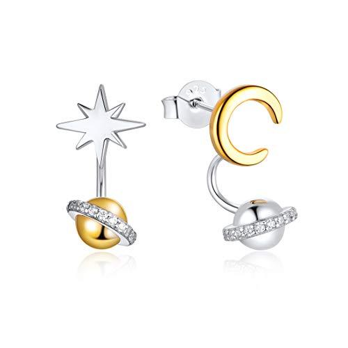 Plata de Ley 925 Aretes Clavos Hipoalergénicos para Mujeres Joyería Accesorios Decorativos de Orejas Pendientes Asimétricos Estrella Luna y Planeta Elemento de Universo