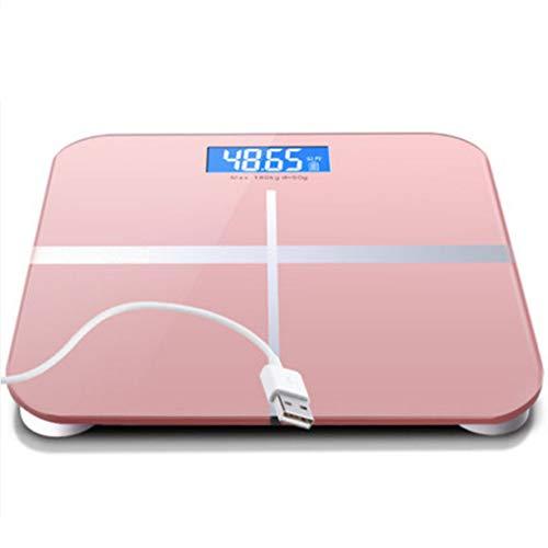 HIOD Escala de Peso Corporal Digital Báscula de baño Mediciones de Alta precisión 180 kg Carga USB máxima,Pink