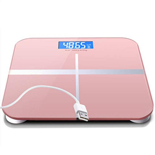 HiXB Digitale Personen Waage Personenwaage Hochpräzise Messungen 180kg Max. USB-Aufladung,Pink