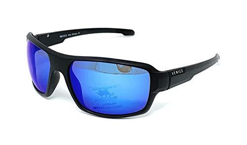 Gafas De Sol Venice, Polarizadas Deportivas con Proteccion UV400 para el Golf, la Pesca, el Ciclismo y cualquier deporte al aire libre (Black Ice Mirror)