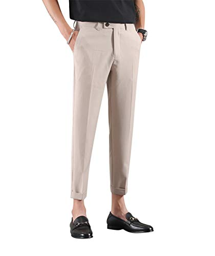 MOGU Men Cropped Dress Pants Ankle-Length Khaki Color US Size 29 Khaki