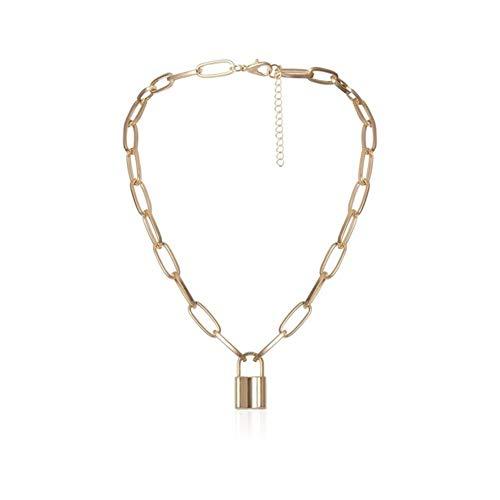 chenyou Pendant Lock Chain Necklace Punk Color Padlock Pendant Necklaces Women Fashion Gothic Jewelry necklace (Metal Color : Gold)