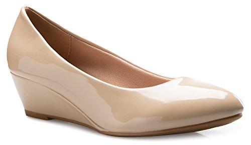 Olivia K Women's Close Round Toe Low Wedge Glitter Rhinestone Comfort