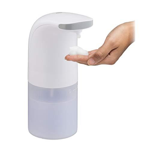 Relaxdays Seifenspender automatisch, Infrarot Sensor, für Schaumseife, nachfüllbar, 300 ml, Schaumseifenspender, weiß