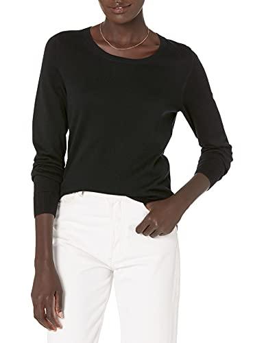 Amazon Essentials Crewneck Sweater, Mujer, Negro (black), (Talla del fabricante: Small)