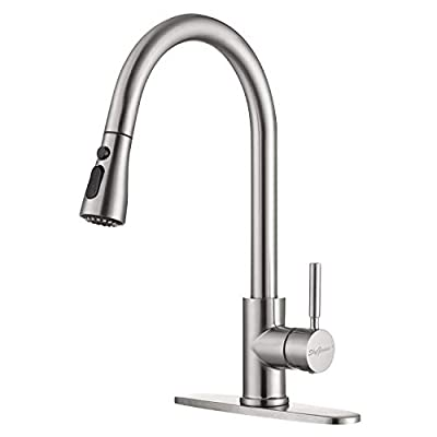 Single Handle Pull Down Kitchen Faucet, Stainless Steel Pull Out Kitchen Sink Faucet