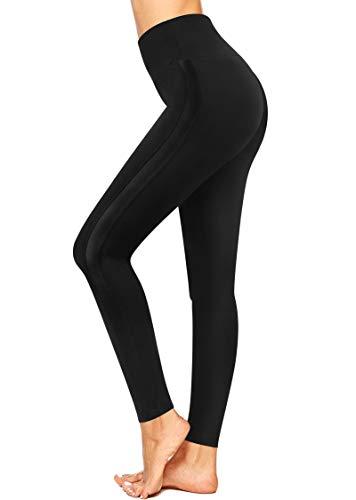 3W GRT Pantaloni Sportivi Donna, Donna Pantaloni Yoga, Vita Alta Pantalone Pilates (Nero-1, XXL)