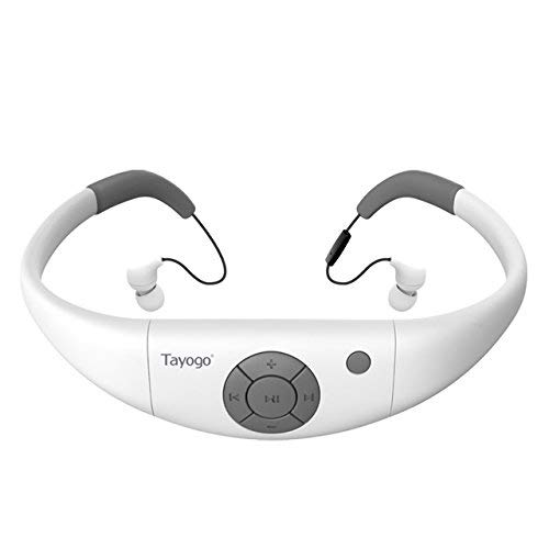 IPX8 Waterproof MP3 Player 8GB, Swimming Headphones with Bluetooth FM APP, Work for 6-8 Hours Under Water 3 Meters -White
