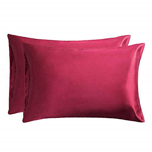 Bedsure Federe in Raso 50 x 75 cm Vino Rosso - Federe Cuscino Letto Copricuscini Coppia Set di 2 Pezzi - Federa Super Morbida e Liscia per Capelli e Pelle 100% Microfibra