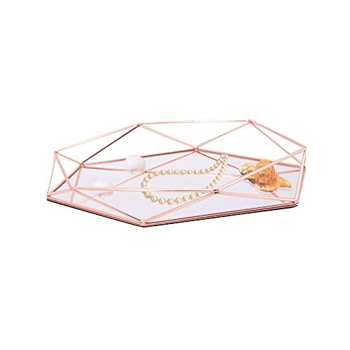 umorismo Bandeja para joyas de oro rosa, espejo, bandeja decorativa, bandeja de joyas, bandeja de cristal de espejo, placa para anillos, pendientes, pulseras, relojes y otros accesorios