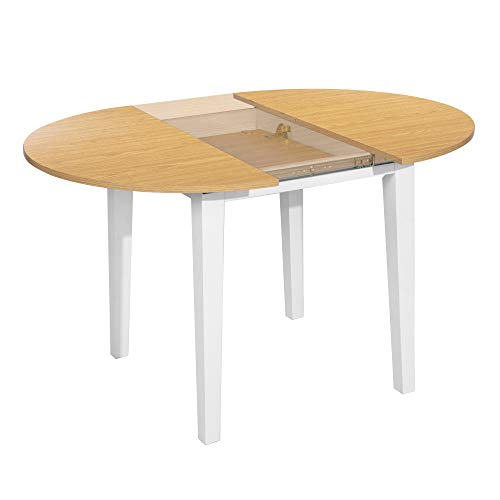 HOMYCASA Extendable Round Dining Table Butterfly Leaf Thick Leg Stable Extending Patio Modern Kitchen Table, Wood White, 90x90-120x75cm