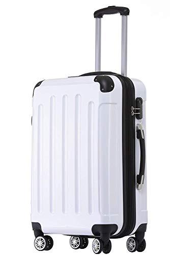 BEIBYE Zwillingsrollen 2048 Hartschale Trolley Koffer Reisekoffer Taschen Gepäck in M-L-XL-Set (Weiß, XL)
