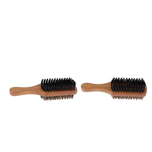 dailymall Cepillo De Bigote De Barba De Cerdas De Nailon para Hombre De 2 Lados con Mango De Madera 2 Piezas
