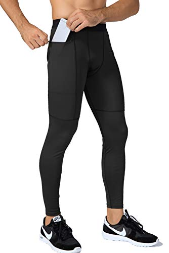 Lavento Men's Compression Pants Running Tights Leggings with Zip Phone Pocket (1 Pack-3910 Black,Large)