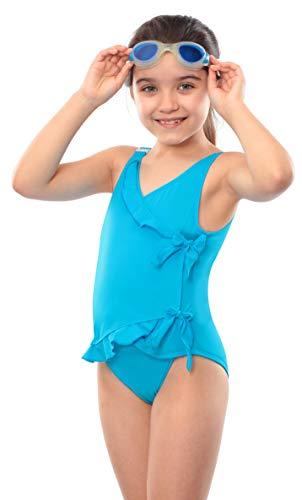 Kes-Vir Inkontinenz-Badeanzug für Mädchen, Wasserfall-Stil, 7–8 Jahre, Blau