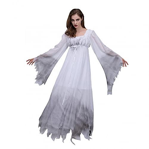 BIBOKAOKE Costume de vampire pour femme Halloween Cosplay Robe blanche en dentelle Costume fantôme gothique robe maxi robe à manches longues robe de fête femme longue robe de fête femme costume festif