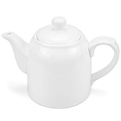 Foraineam Porcelain Teapot 32 Ounce White Ceramic Serving Tea Pot