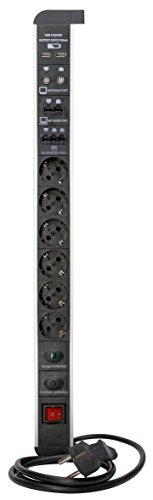 Kopp 228205016 - Regleta para Escritorio con 6enchufes, Interruptor, USB, Antena TV, ethernet, teléfono, Negro/Plata