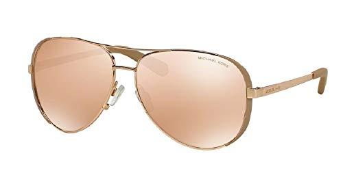 Michael Kors MK5004 CHELSEA Aviator 1017R1 59M Rose Gold/Taupe/Rose Gold Flash Sunglasses For Women +FREE Complimentary Eyewear Care Kit