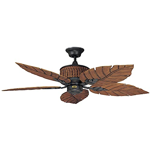 Concord Fans Fernleaf Breeze Tropical Ceiling Fan, 52 Inch   Bohemian Style Iron and 5 Leaf Blades   Damp Rated with Quiet Motor and Downrod Mount   Light Kit Adaptable, Rustic Brown