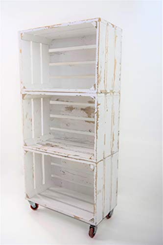 Estantería con 3 Cajas de Madera Pintada Blanco Vintage Tipo Fruta Vertical con Ruedas Rojas Sam, Cajas Blanco Vintage, 50x32x110CM. Incluye Imán Personalizable de Madera.
