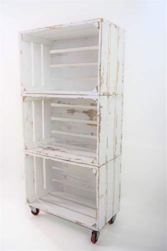 Estantería 3 Cajas Madera Pintada Blanco Vintage