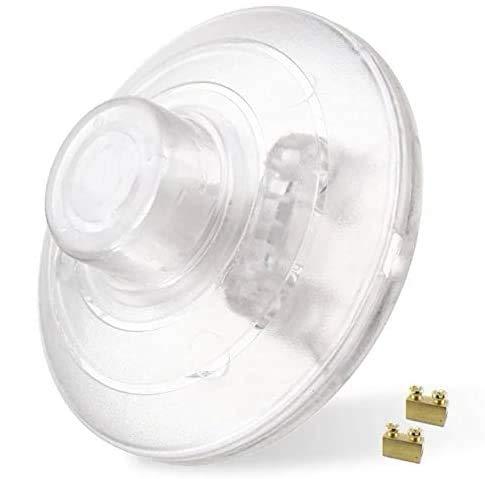 Interruptor para lámpara con contactos roscados, interruptor de pedal, interruptor intermedio de 1 polo, 2 A, transparente, interruptor de pie redondo que se puede conectar a cable de 2 o 3 hilos.