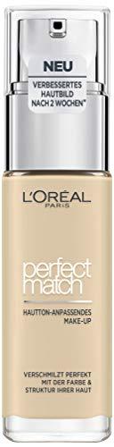 L'Oréal Paris Perfect Match Foundation, flüssiges Make-Up, deckend und feuchtigkeitsspendend für einen natürlichen Teint - 1D/1W golden ivory (30 ml)
