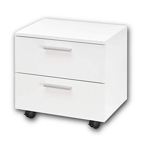 Stella Trading BIBO Praktischer Schreibtisch Rollcontainer - Stauraumerweiterung für den Computertisch in weiß - 50 x 46 x 38 cm (B/H/T)